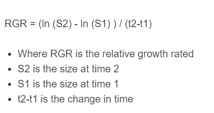 relative growth rate formula