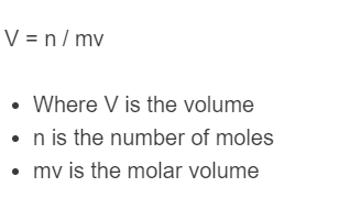 mole to volume formula