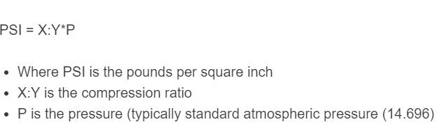 compression ratio to PSI formula