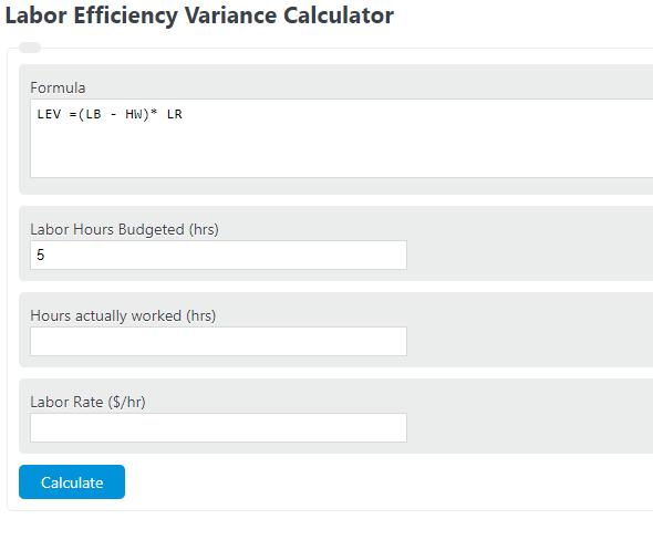 labor efficiency variance calculator