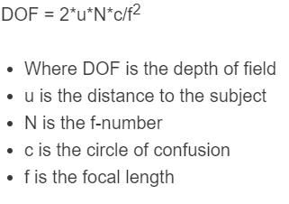 depth of field formula