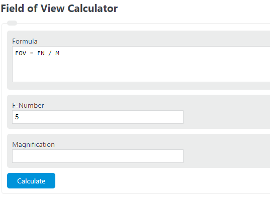 field of view calculator
