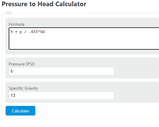 pressure to head calculator