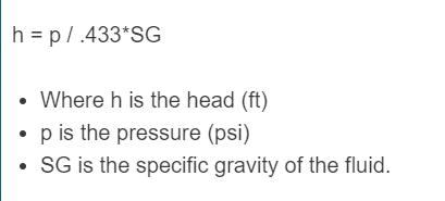 pressure to head formula