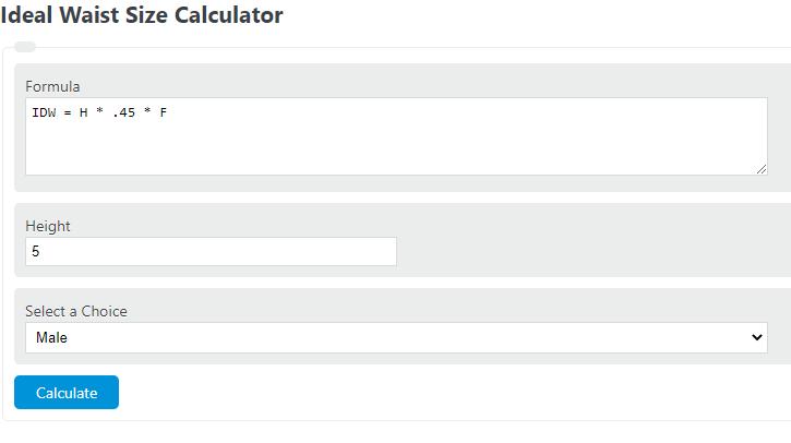 ideal waist size calculator