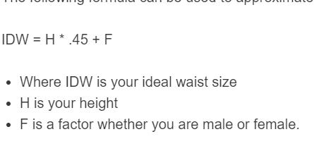ideal waist size formula