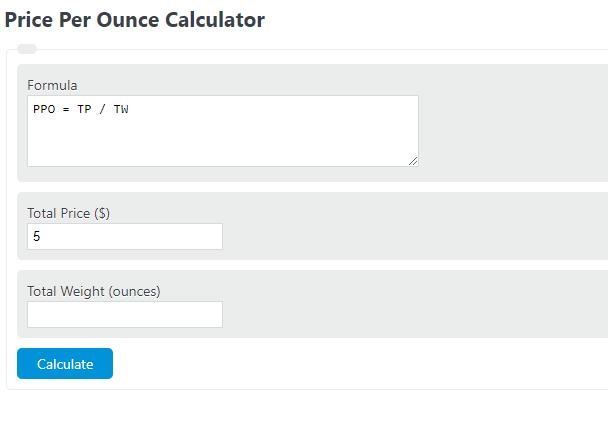 price per ounce calculator