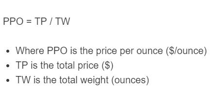 price per ounce formula