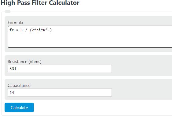 high pass filter calculator