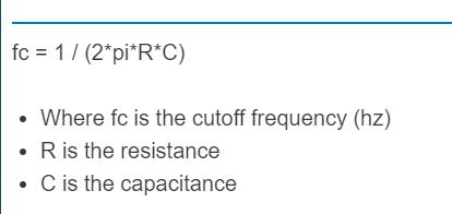 high pass filter formula