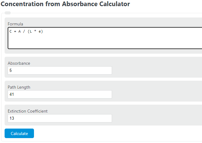 concentration from absorbance calculator