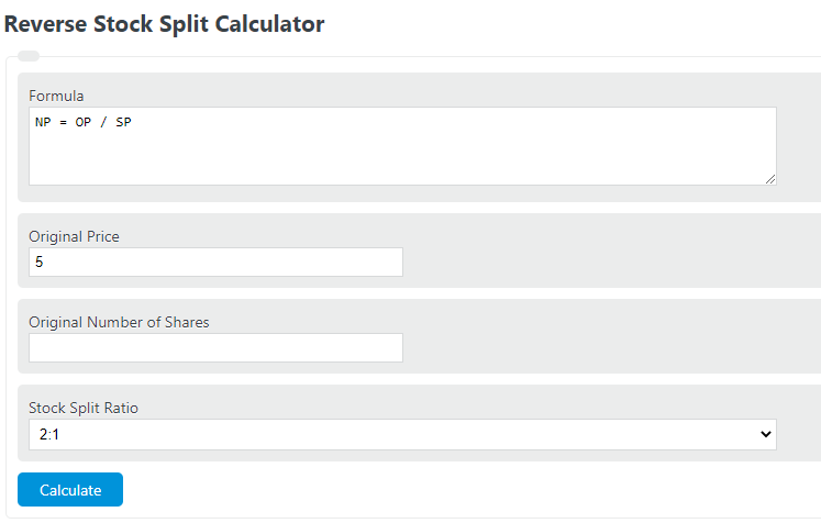 reverse stock split calculator