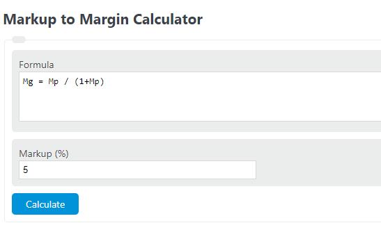 markup to margin calculator
