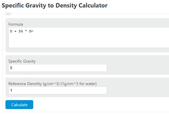 specific gravity to density calculator