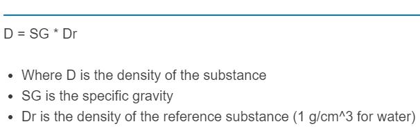 specific gravity to density formula