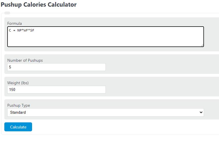 push up calories calculator