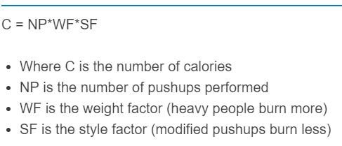 push up calories formula