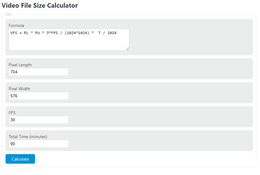 video file size calculator