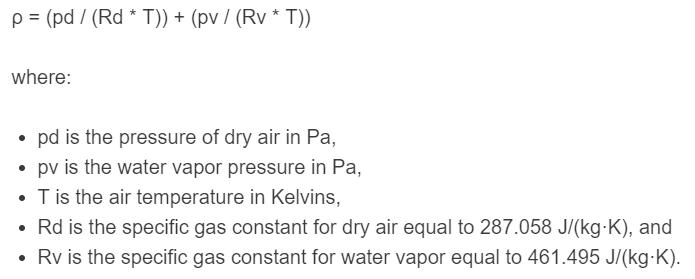 air density formula