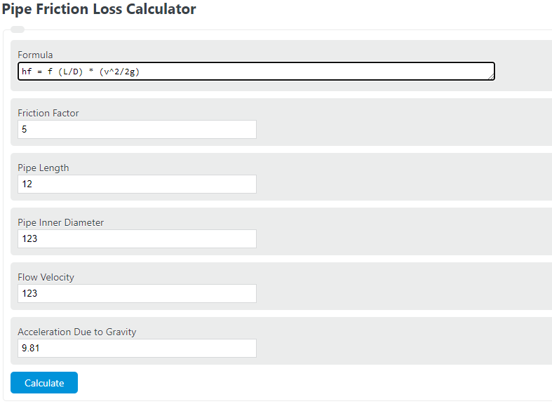 pipe friction loss calculator