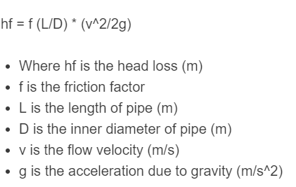 pipe friction loss formula