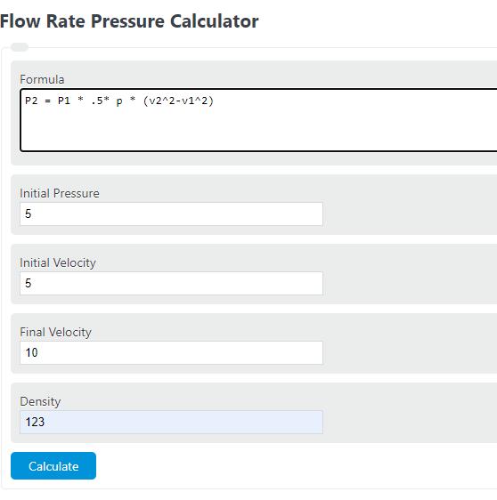 flow rate pressure calculator