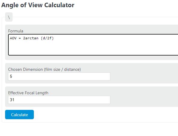 angle of view calculator