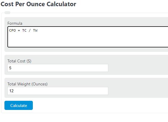 cost per ounce calculator