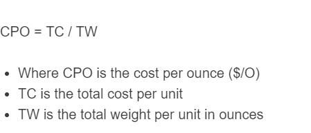 cost per ounce formula