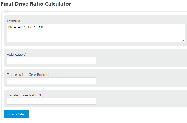 final drive ratio calculator