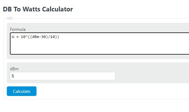 db to watts calculator