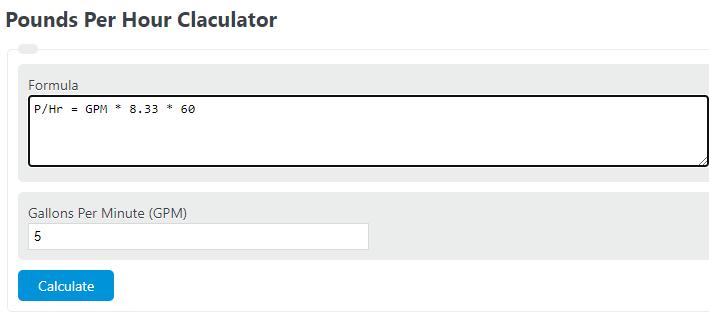 pounds per hour calculator