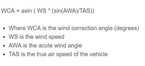 wind correction angle formula