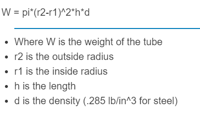 weight of tube formula