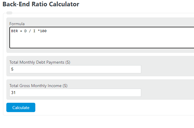 back-end ratio calculator