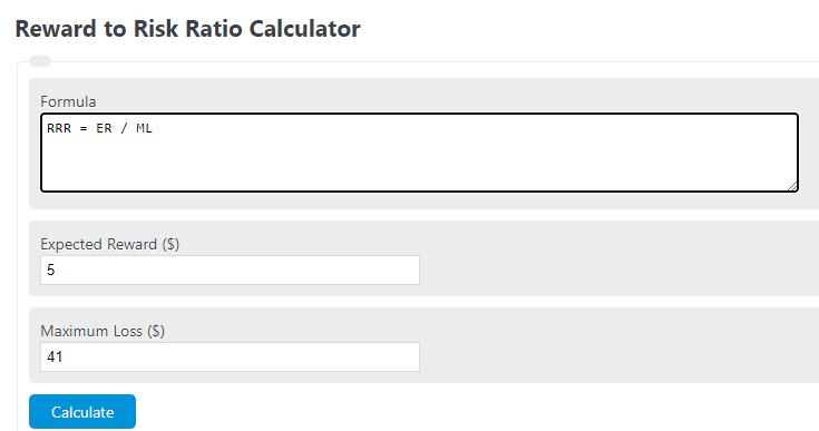 reward to risk ratio calculator