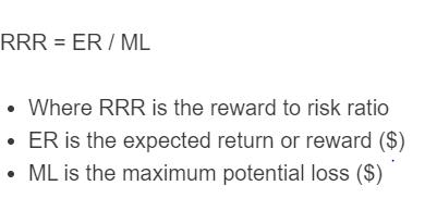 reward to risk ratio formula