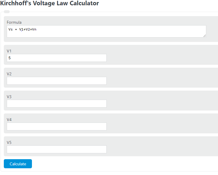 Kirchhoff's Voltage Law Calculator