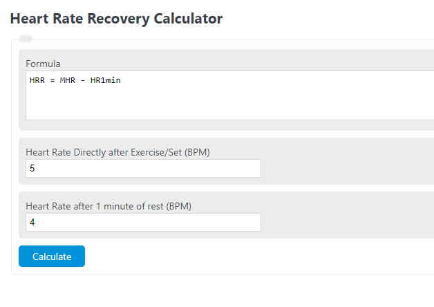 heart rate recovery calculator