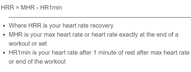 heart rate recovery formula