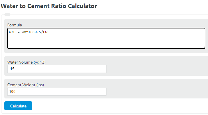 water to cement ratio calculator