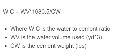 water to cement ratio formula