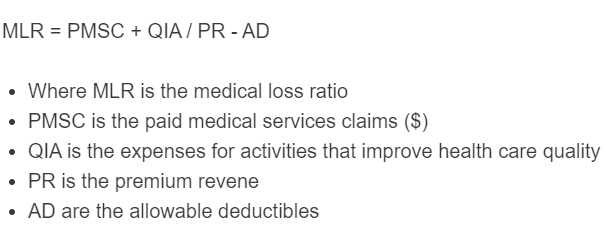 medical loss ratio formula