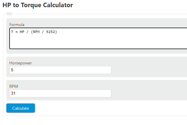 hp to torque calculator