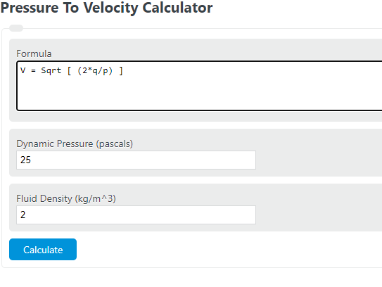 pressure to velocity calculator