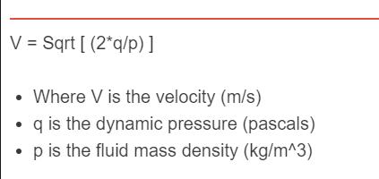 pressure to velocity formula