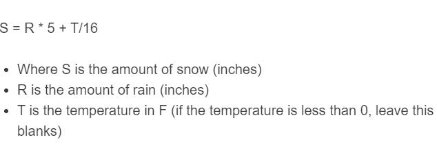 rain to snow formula