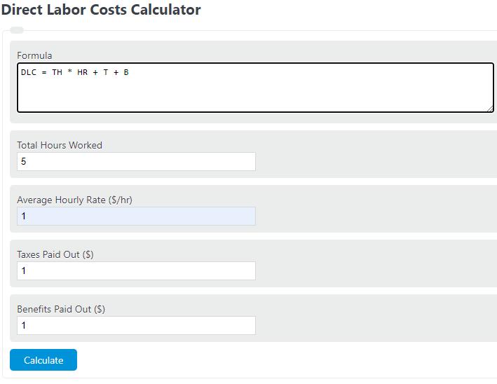 direct labor costs calculator