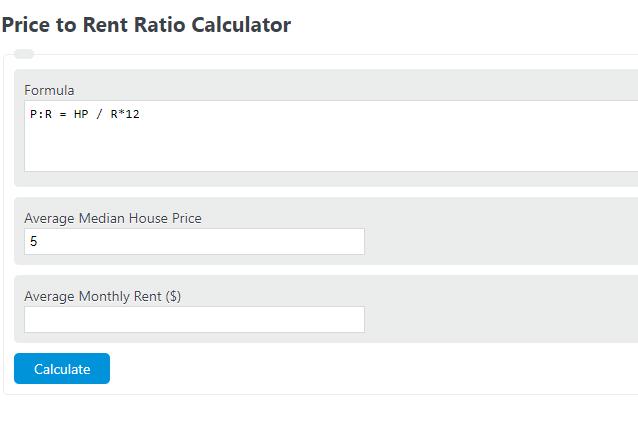 price to rent ratio calculator