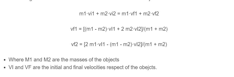 elastic collision formula